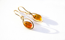 Gold Earrings With Amber On Th...
