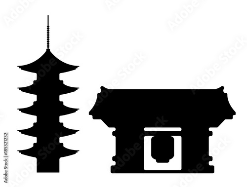 Tokyo landmark building / architecture illustration (Asakusa temple) Canvas Print