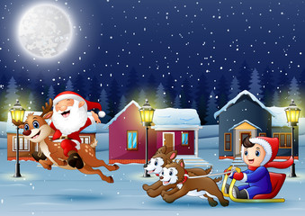Cartoon boy riding sled on the snowing village with santa ride reinder