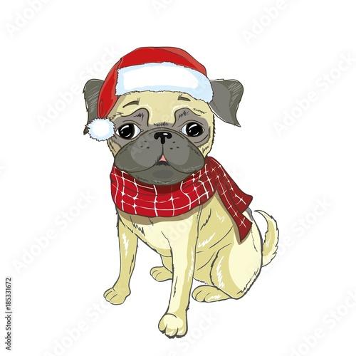 Fotobehang Art Studio Christmas greeting card. Pug dog with red Santa s hat