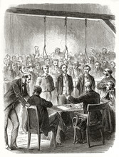 Ancient Trial Against Three People In Front Of A Screaming Crowd And A Gallows With Hanging Nooses. John Doe And Son Interrogations. By Janet-Lange And Carbonneau Published On Le Tour Du Monde 1862
