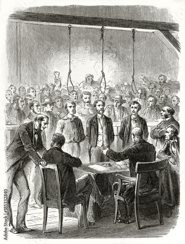 Ancient trial against three people in front of a screaming crowd and a gallows with hanging nooses Tapéta, Fotótapéta