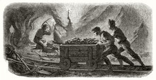 Ancient Miners Pulling A Cart On A Rail In A Quartz Mine At The Soft Light Of A Candle While Another One Is Working With A Pickaxe. By Chassevent And Sargent Published On Le Tour Du Monde Paris 1862