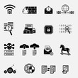 Cybercrime internet network security black and white icon. Vector illustration cyber crime online security concept.