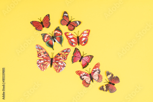 Tuinposter decorative butterflies on a colored background