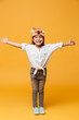 Happy little girl child wearing christmas cute mask.