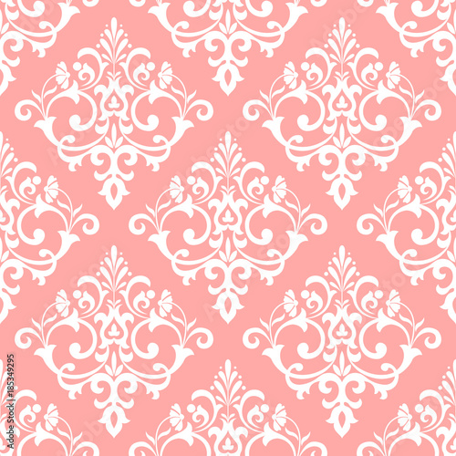 Floral pattern. Wallpaper baroque, damask. Seamless vector background. Pink and white ornament. Stylish graphic pattern