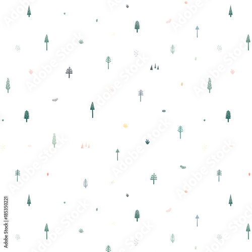 Seamless Vector Pattern With Cute Christmas Trees On White