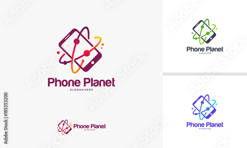 phone planet logo designs mobile planet logo template vector buy