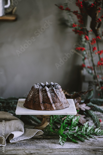 Chocolate cake on stand