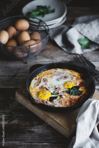 Foto op Canvas Gebakken Eieren Pan with fried eggs