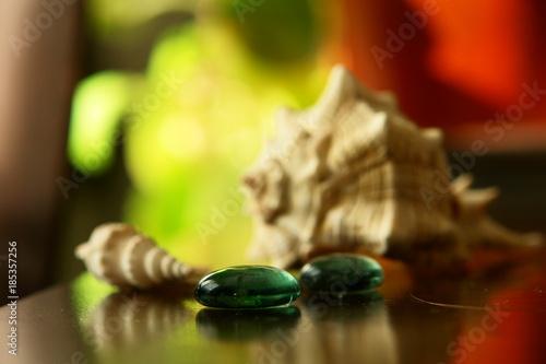 Keuken foto achterwand Spa marbles with shells