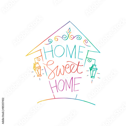 Photo  Home sweet home postcard. Hand drawing illustration.