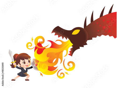 Photo  Vector cute business woman character raising sword and holding shield fighting with giant dragon, monster isolated on white background