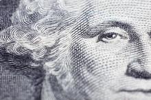 US President George Washington Face Portrait On The USA One Dollar Note
