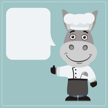 Chef Donkey With Speech Bubble In Cartoon Style. Smiling Donkey Cook Says And Shows Like.