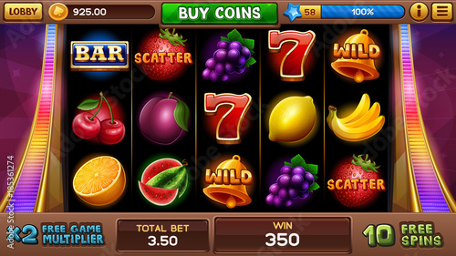 Fotomural Free games screen for slots game. Vector illustration