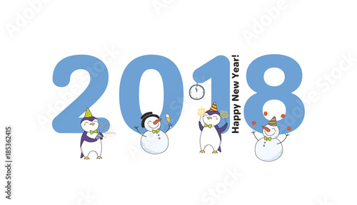 Hand drawn Happy New Year 2018 greeting card, banner template with ...