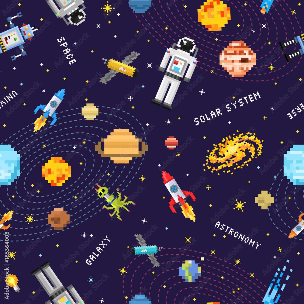 space seamless pattern background, alien spaceman, robot rocket and satellite cubes solar system planets pixel art, digital vintage game style. Mercury, Venus, Earth, Mars, Jupiter, Saturn.