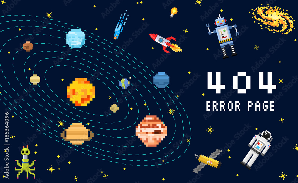 Fototapeta 404 error page. not found. space background, spaceman, robot rocket and satellite cubes solar system planets pixel art, digital vintage game style. internet connection problem concept.