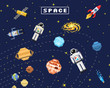 space background, alien spaceman, robot rocket and satellite cubes solar system planets pixel art, digital vintage game style. Mercury, Venus, Earth, Mars, Jupiter, Saturn.