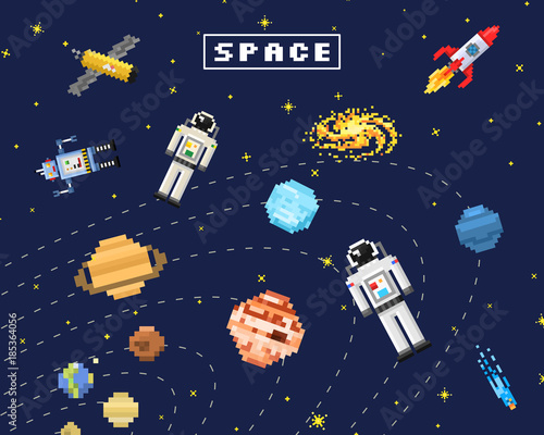 Fototapety, obrazy: space background, alien spaceman, robot rocket and satellite cubes solar system planets pixel art, digital vintage game style. Mercury, Venus, Earth, Mars, Jupiter, Saturn.
