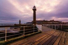 Whitby West Pier Light In York...