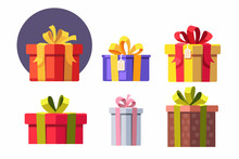 Vector Set Of Gift Boxes.