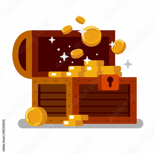 Fotografie, Obraz Wooden treasure chest full of golden coins.