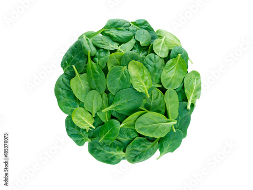 Round heap of spinach leaves top view