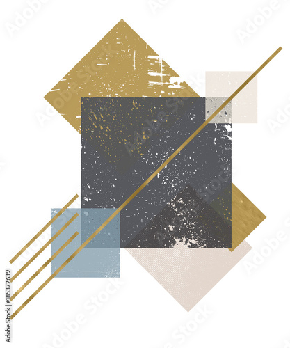 Fotografie, Obraz  Abstract composition of decorative geometric forms with grunge texture and golden trendy textures