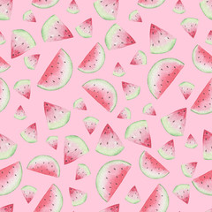 Seamless Watermelon Pattern on Pink Background. Watercolor Baby Girl collection.