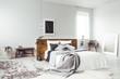 Leinwandbild Motiv Dark poster in bright bedroom