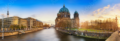 Beautiful panoramic view of Berlin Dome during sunset against  blue sky Canvas Print