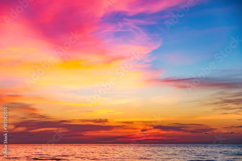 plakat Tropical colorful dramatic sunset with cloudy sky . Evening calm on the Gulf of Thailand. Bright afterglow.