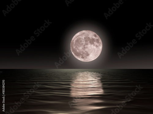 Fototapety, obrazy: Red moon rising on the ocean.