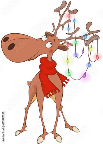 Papiers peints Chambre bébé Illustration of Christmas Deer Cartoon Character