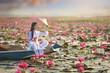 Leinwanddruck Bild - Beautiful  woman with Vietnam culture traditional dress,traditional costume ,vintage style,Vietnam