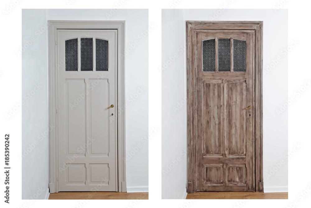 patine peinture porte intérieur décoration maison Foto ...