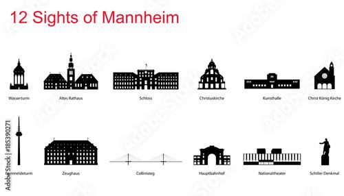 Fotografie, Obraz  12 Sights of Mannheim