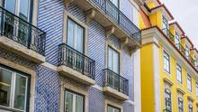 Tiled Facades On Houses In Lisbon, Portugal