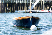 Blue Row Boat Moored In Bar Harbor Maine, USA