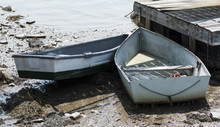 Two Row Boats Stuck On The Mud...