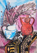 Still Life Composition Illustration With A Teapot, Flowers, Jug, Statuette