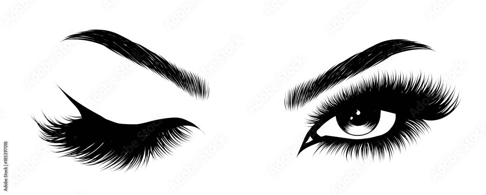 Fototapeta Hand-drawn woman's sexy makeup look with perfectly perfectly shaped eyebrows and extra full lashes. Idea for business visit card, typography vector.Perfect salon look