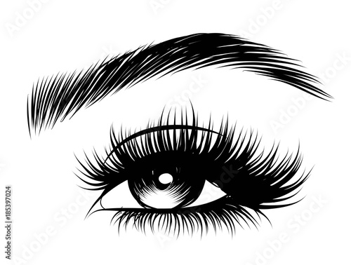 Photo Hand-drawn woman's sexy makeup look with perfectly perfectly shaped eyebrows and extra full lashes