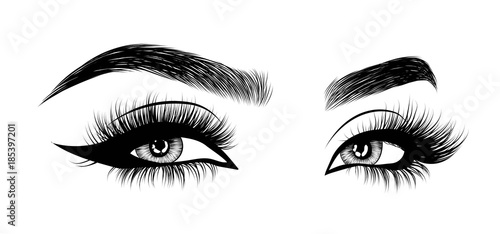 Fotografiet  Hand-drawn woman's sexy luxurious eye with perfectly shaped eyebrows and full lashes