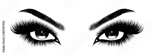 Fototapeta Hand-drawn woman's sexy makeup look with perfectly perfectly shaped eyebrows and extra full lashes. Idea for business visit card, typography vector.Perfect salon look obraz
