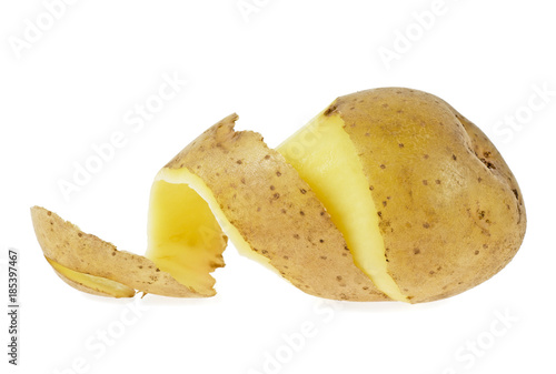 Potatoes with peel isolated on a white background
