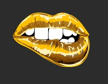 Abstract Gold Lips. Open Mouth...
